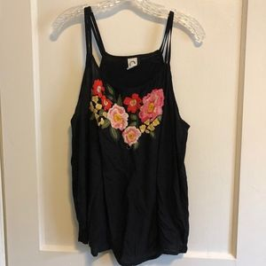 embroidered black tank top